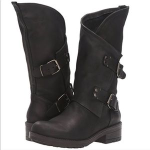 Coolway Alida Black Slouchy Dual Buckle Boots